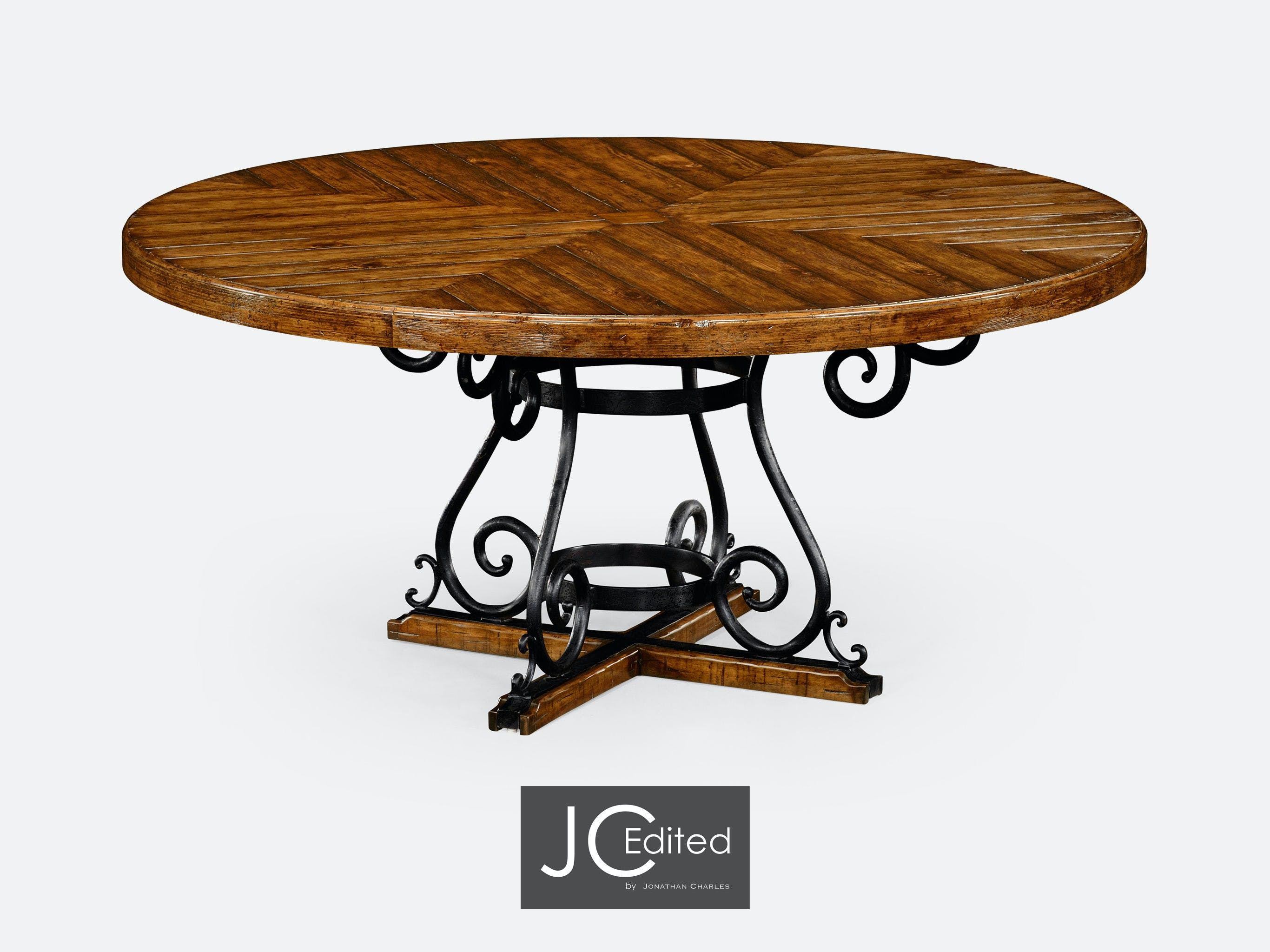 Jonathan Charles Dining Room 66 Country Walnut And Wrought Iron Dining Table 491125 66d Cfw