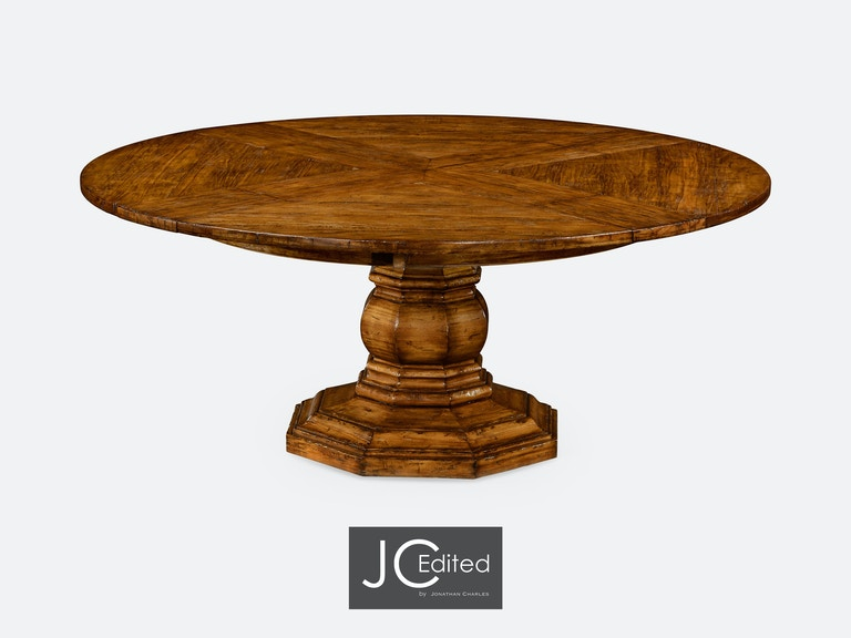 Jonathan Charles 59 Country Walnut Circular Dining Table With Self Storing Leaves Qj49113059dcfw