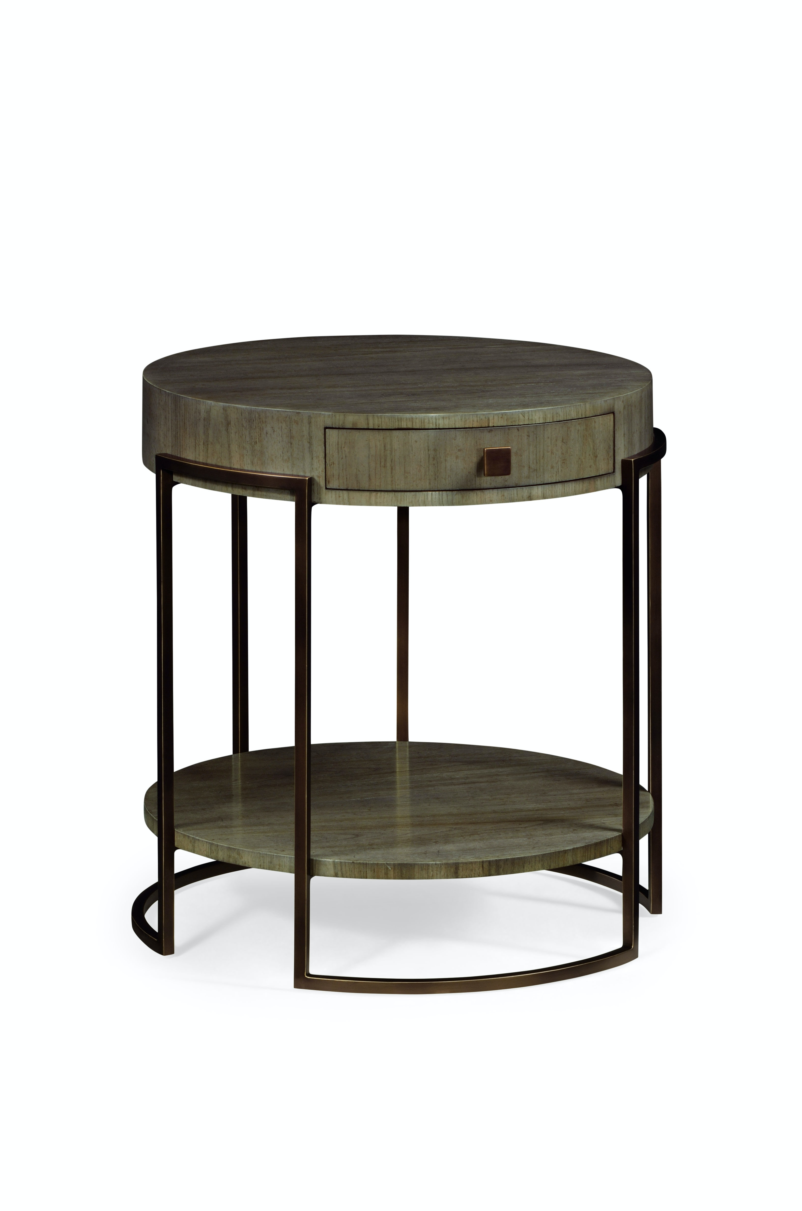 Jonathan Charles Light Bronze Iron Round Side Table In Chestnut 491137 LGC  From Walter E