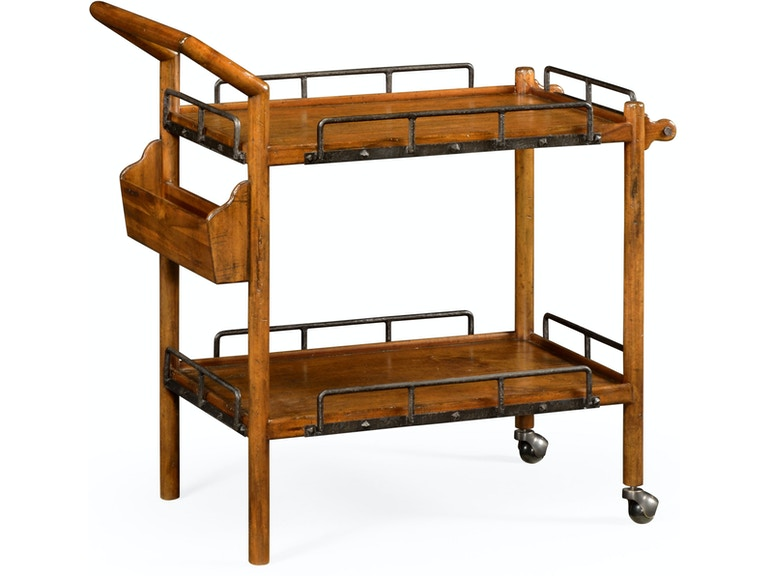 Jonathan Charles Accessories Country Walnut Bar Cart 491164 Cfw
