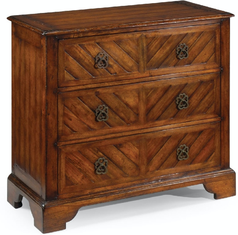 Jonathan Charles Bedroom Walnut Parquet Chest Of Three