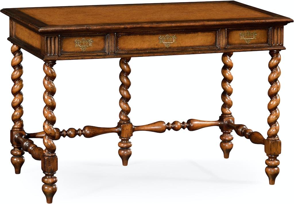 Jonathan Charles Home Office Leather Amp Walnut Turned Desk