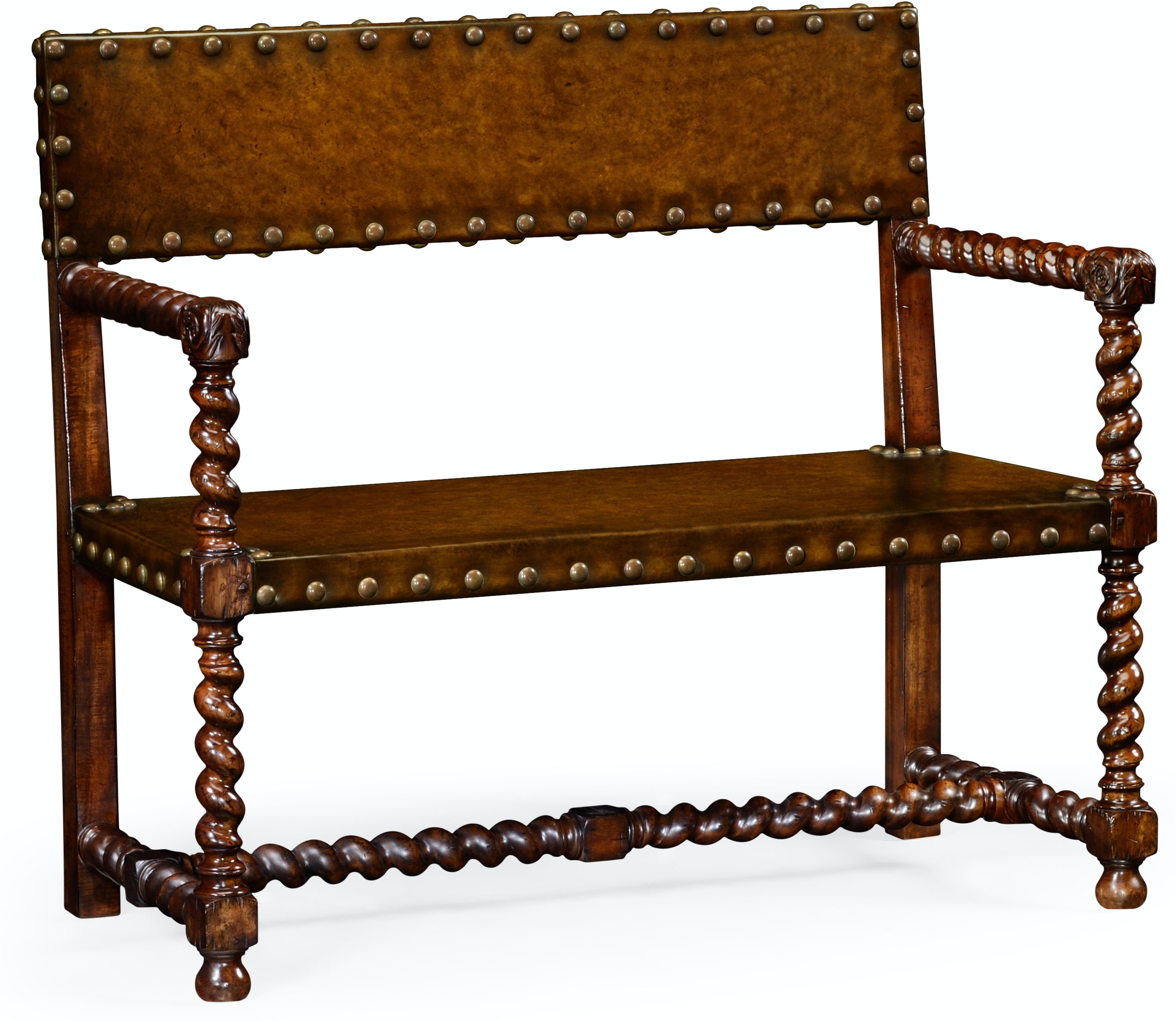 Jonathan Charles Living Room Tudor Style Leather Bench Walnut Qj492245wal Walter E Smithe Furniture Design