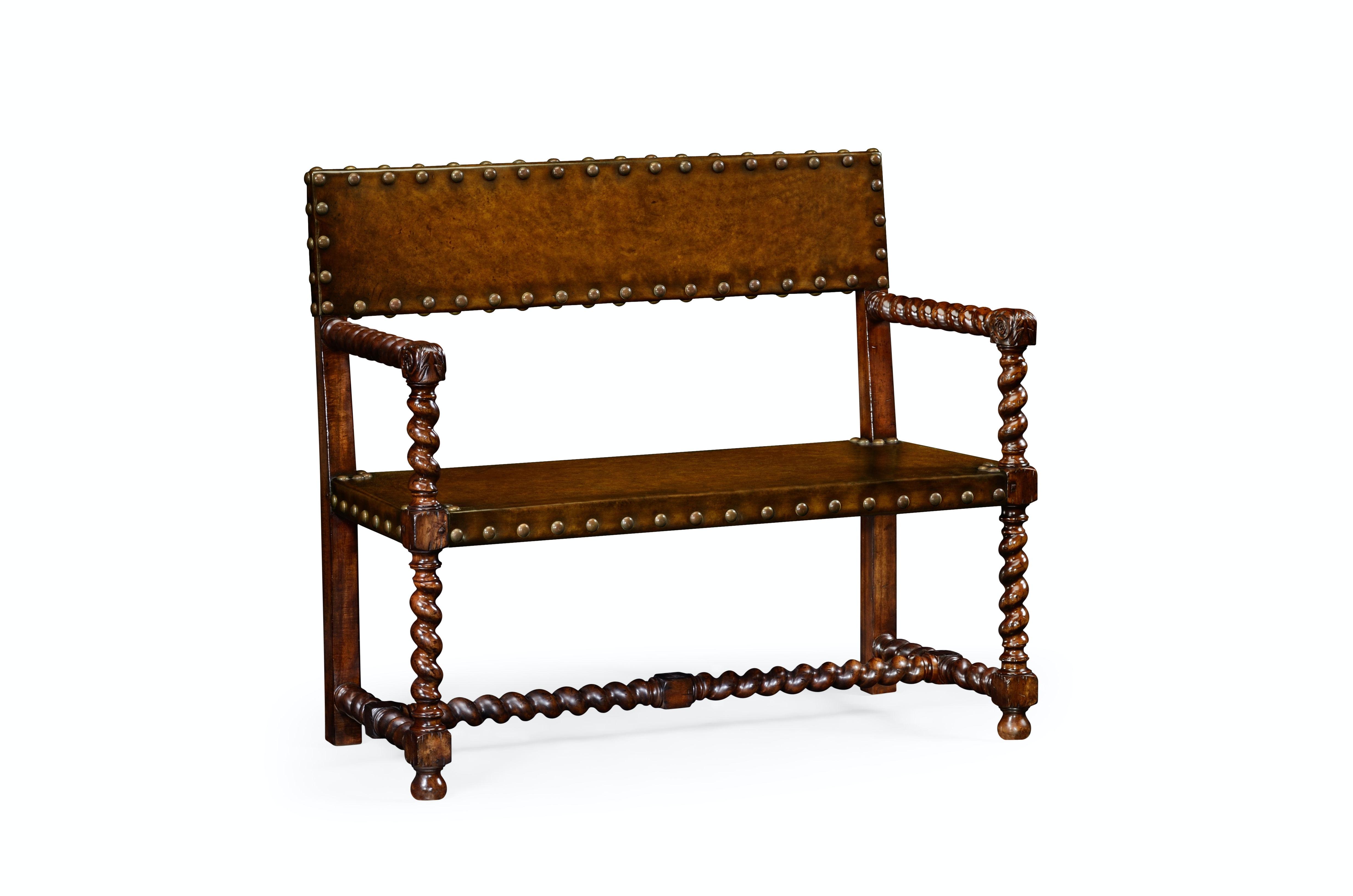 Jonathan Charles Tudor Style Leather Bench (Walnut) 492245 WAL