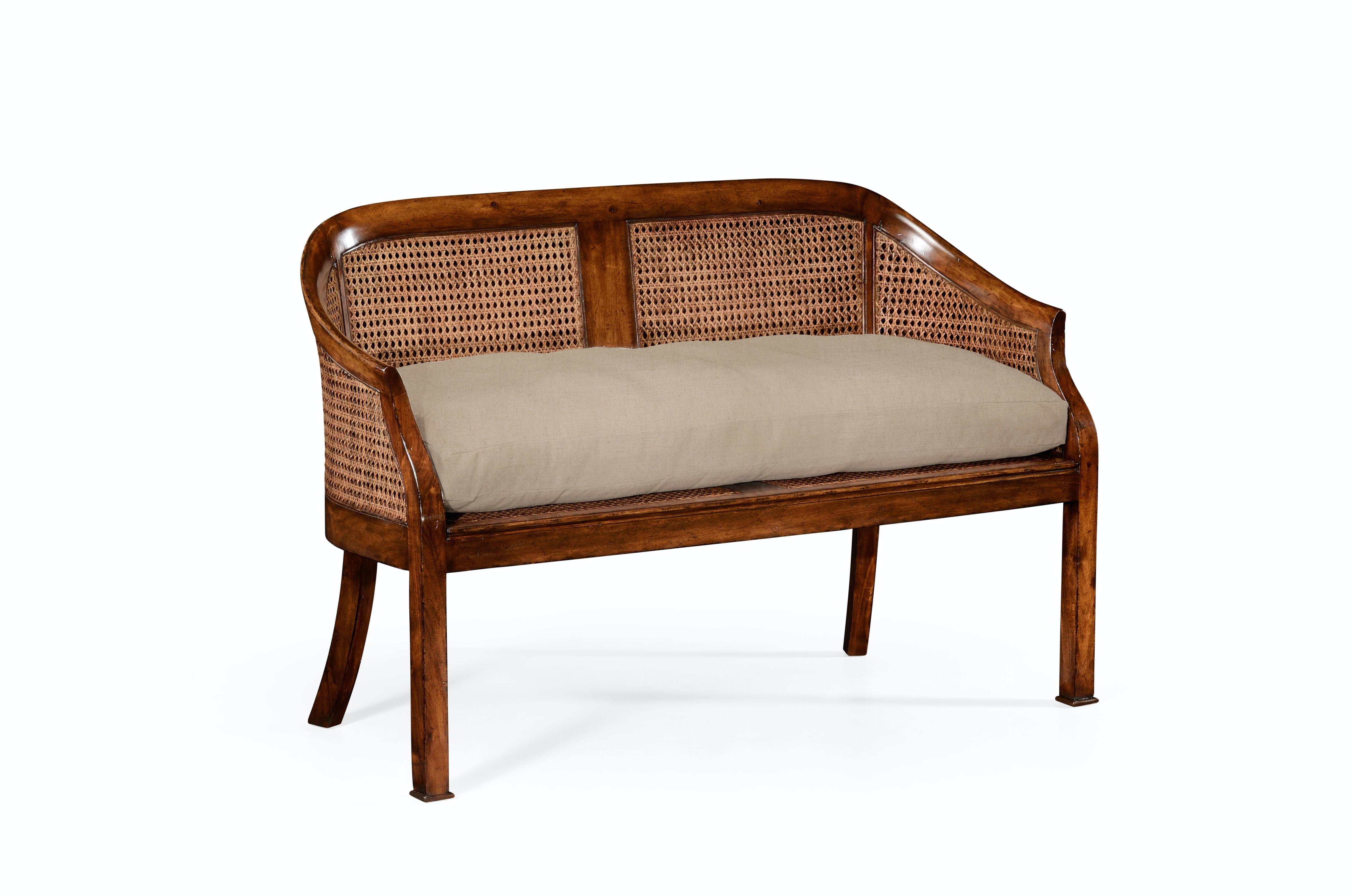 Jonathan Charles Walnut 2 Seater Salon Settee Cane Back Upholstered Seat  492247 WAL