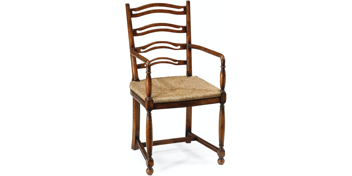 Ladder Back Walnut Chair With Pierced Slats Arm Qj492328acwal