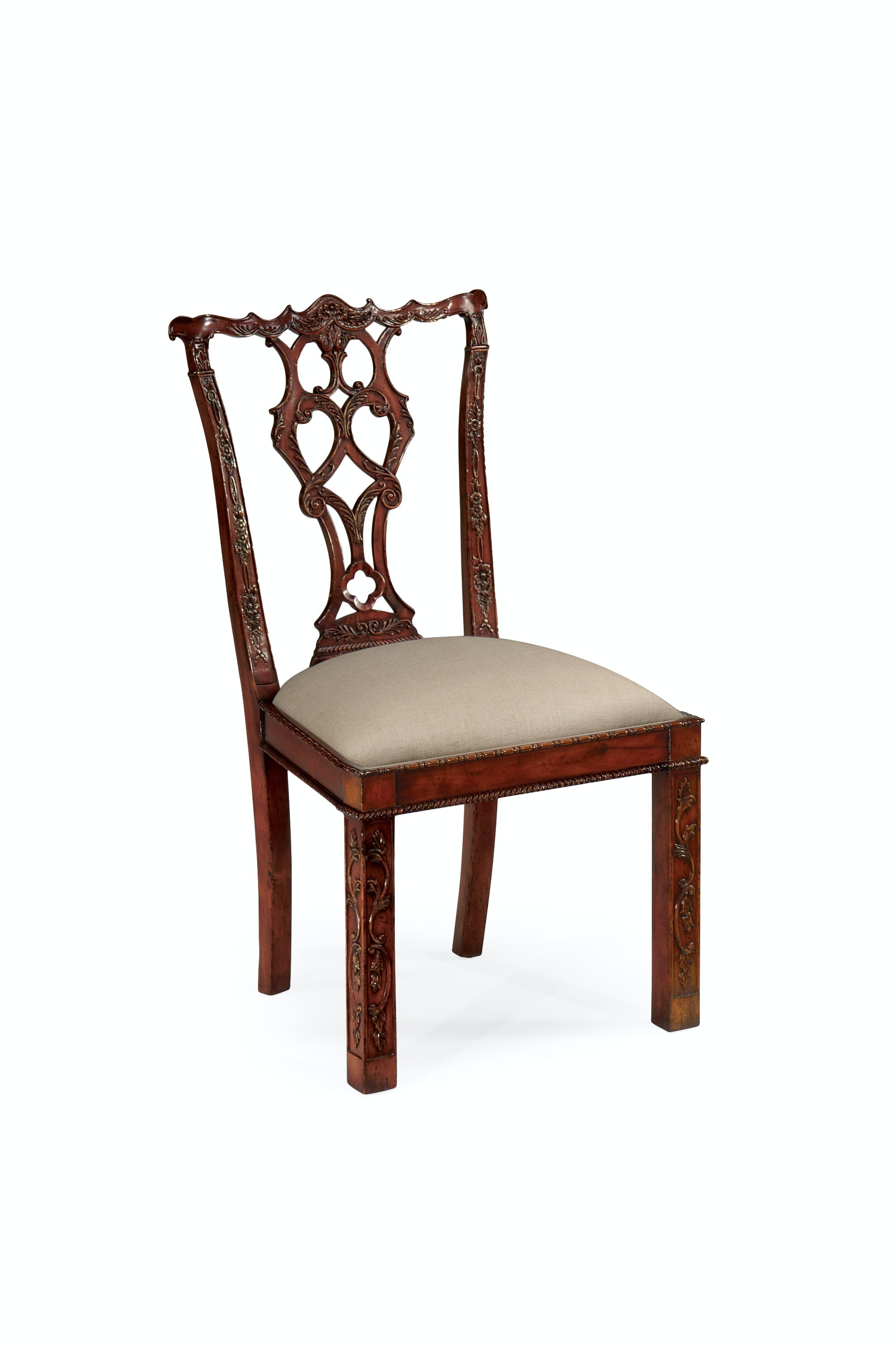 Charming Jonathan Charles Chippendale Style Rococo Quatrefoil Chair (Side)  QJ492472SCMAHF001 From Walter E. Smithe