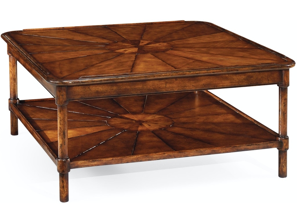 Jonathan Charles Living Room Square Rustic Walnut Coffee Table Qj492599wal Walter E Smithe Furniture Design