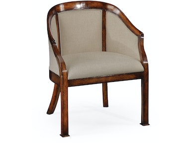 Jonathan Charles Plain Upholstery Walnut Salon Tub Chair 492717