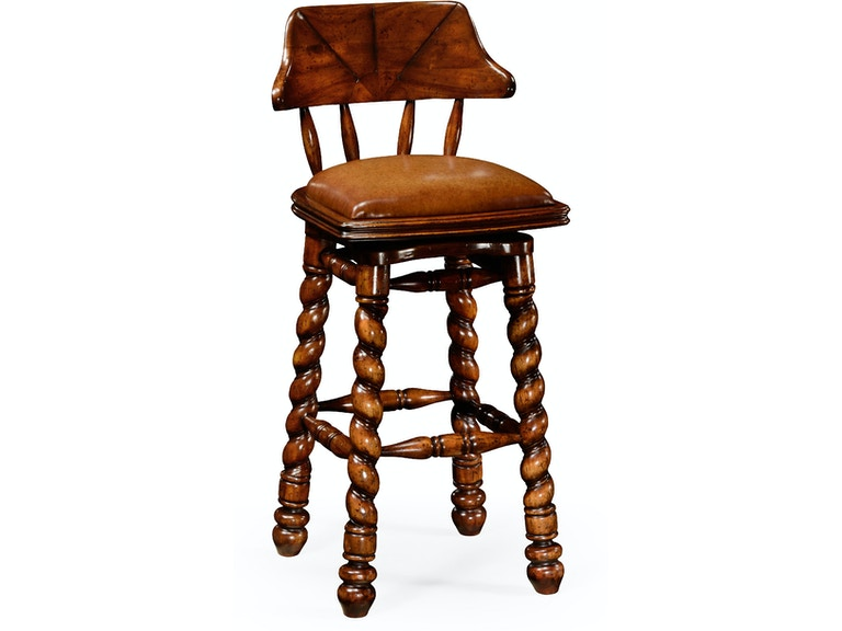 Jonathan Charles Country Style Walnut Leather Barstool With Barley Twist Legs 493025