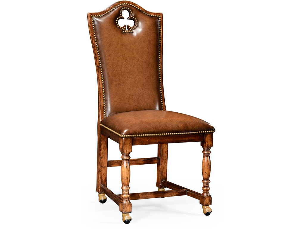 Fine Jonathan Charles Bar And Game Room High Back Playing Card Club Side Chair With Medium Antique Chestnut Leather Qj493387Scwall002 Walter E Smithe Andrewgaddart Wooden Chair Designs For Living Room Andrewgaddartcom