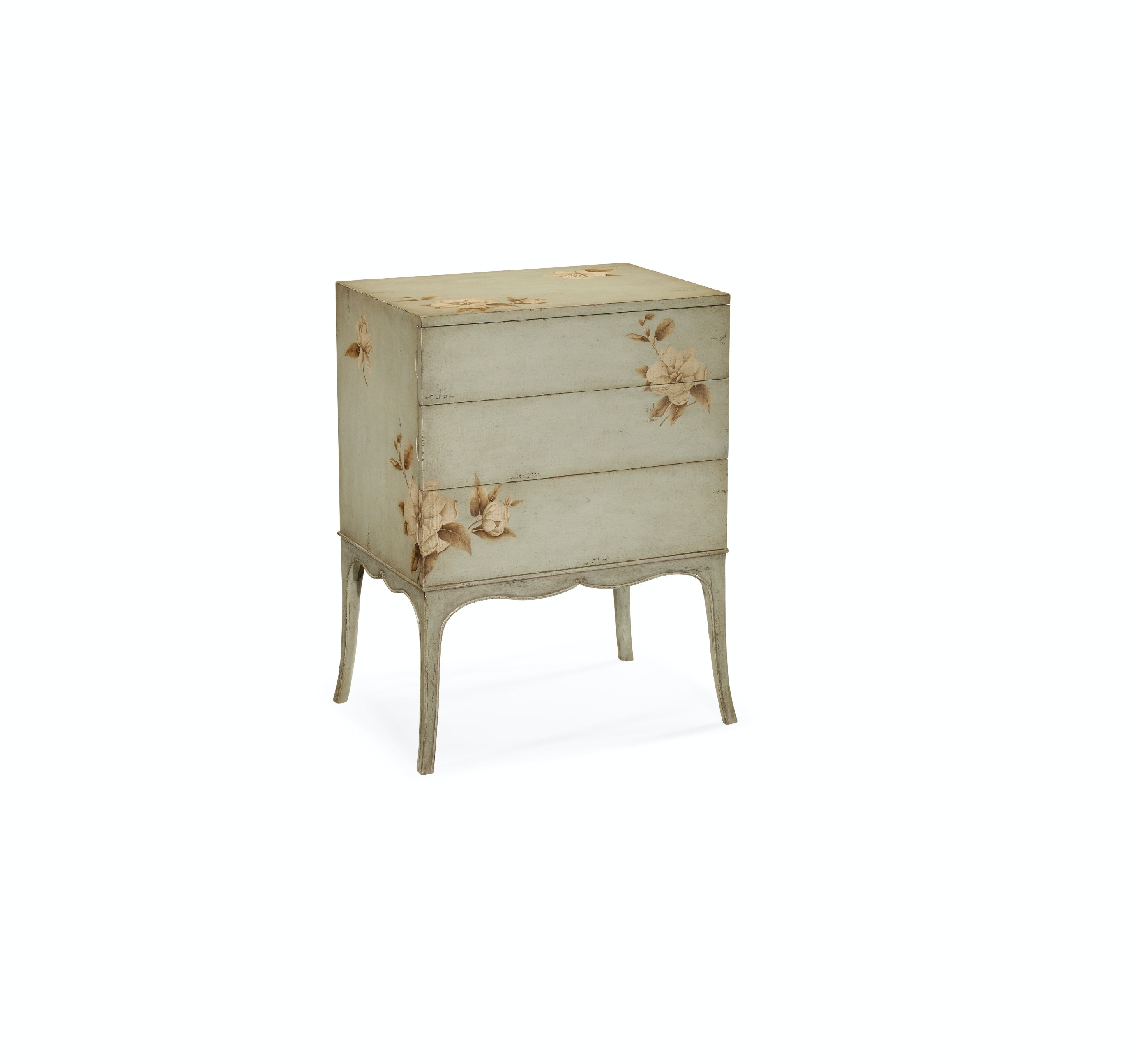 Jonathan Charles Short Foral Painted Chest On Stand