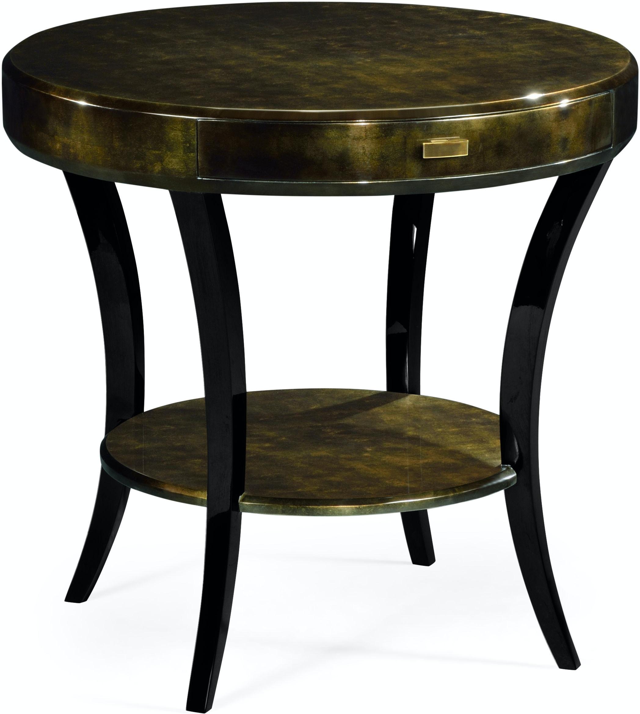 Jonathan Charles Living Room Dark Bronze Round Side Table With Drawer 494000 Mgf Howard Lorton