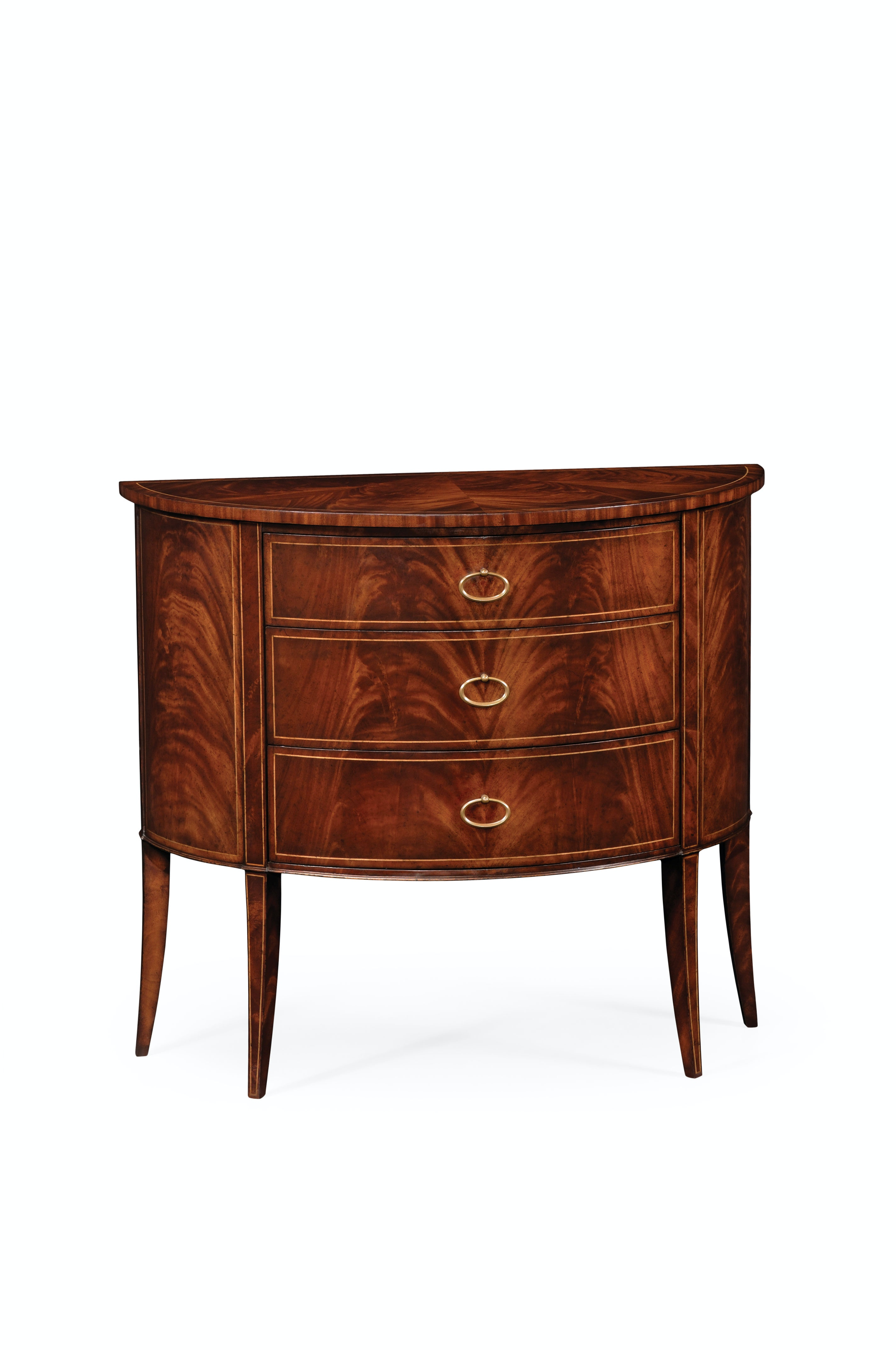 Jonathan Charles Biedermeier Style Mahogany Demilune Cabinet 494004 LAM  From Walter E. Smithe Furniture