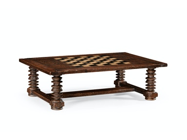 Jonathan Charles Turned Leg Heavy Distressed Games/Coffee Table 494039