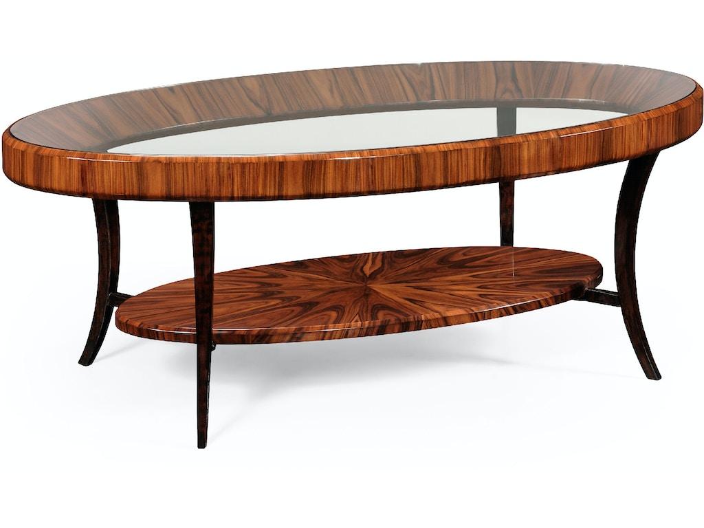 Jonathan Charles Living Room Art Deco Oval Coffee Table With Glass Top High Lustre 494138 Sah