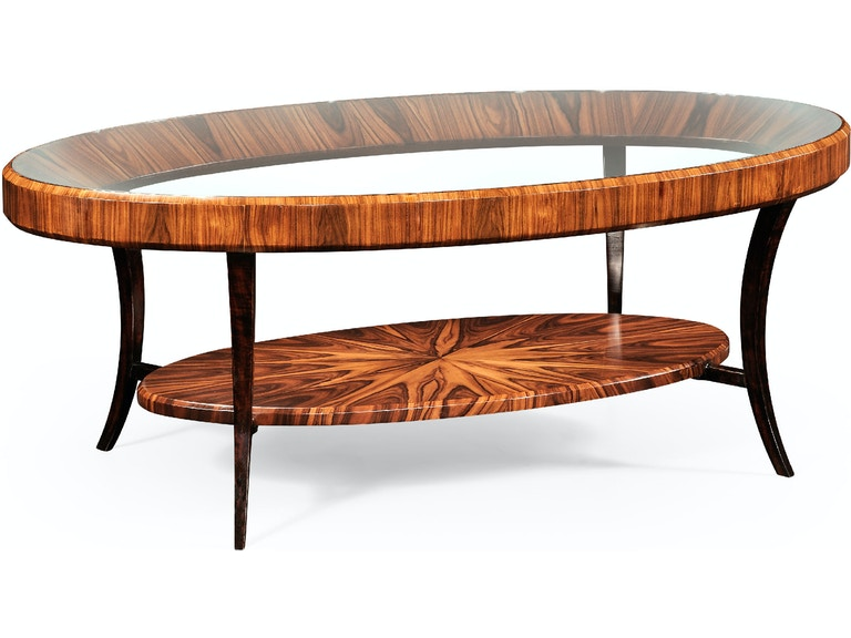 Jonathan Charles Art Deco Oval Coffee Table With Glass Top (Satin)  QJ494138SAS - Art Deco Oval Coffee Table With Glass Top (Satin) QJ494138SAS