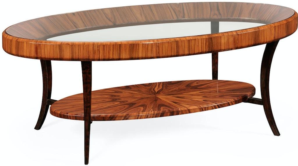 jonathan charles living room art deco oval coffee table with glass top satin qj494138sas walter e smithe furniture design