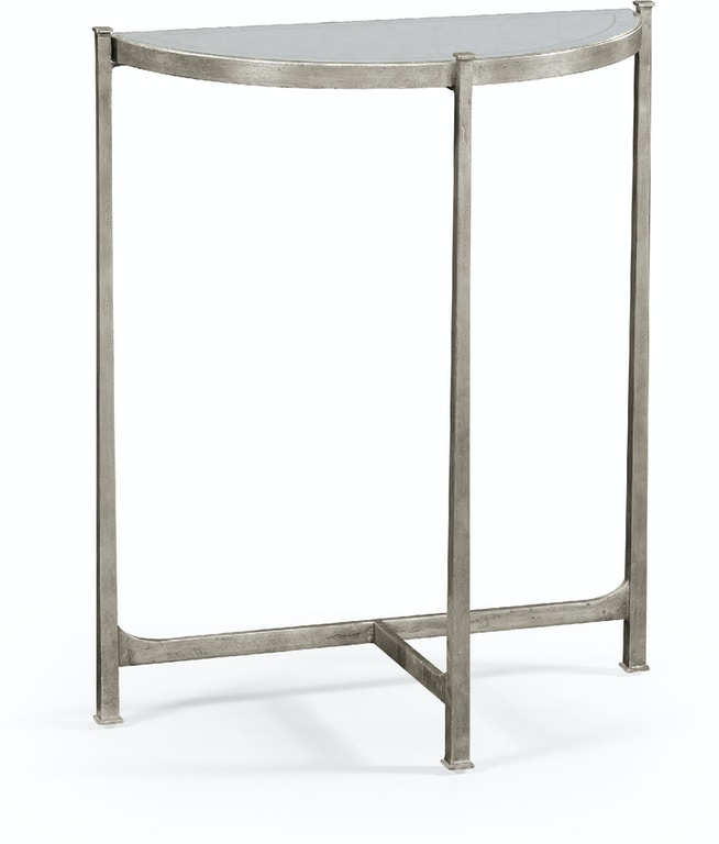 Jonathan Charles Âglomisä Silver Iron Demilune Console Small Qj494180s From Walter E