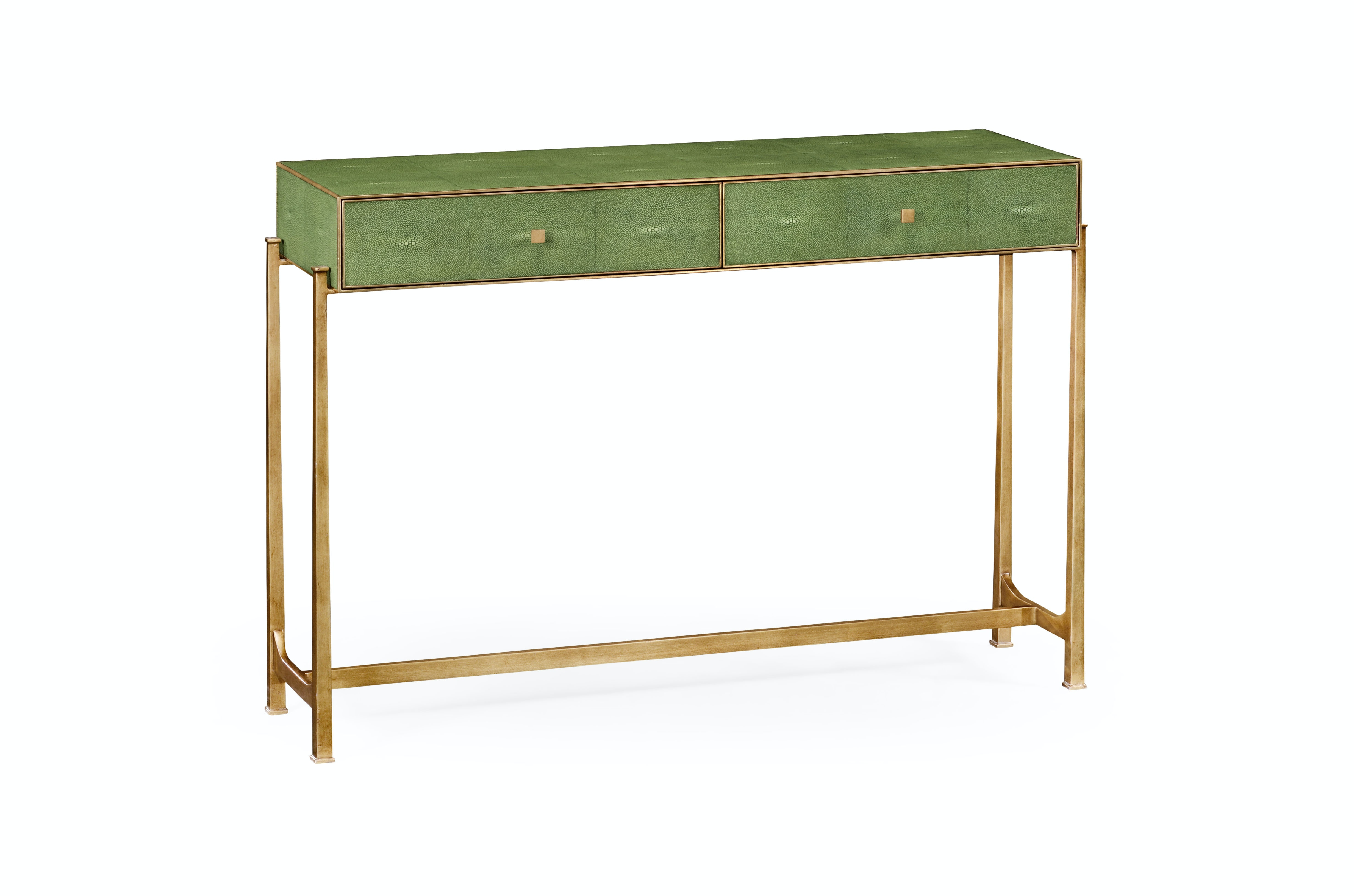 Amazing Jonathan Charles Green Faux Shagreen Gilded Console 494325 G SGG From  Walter E.
