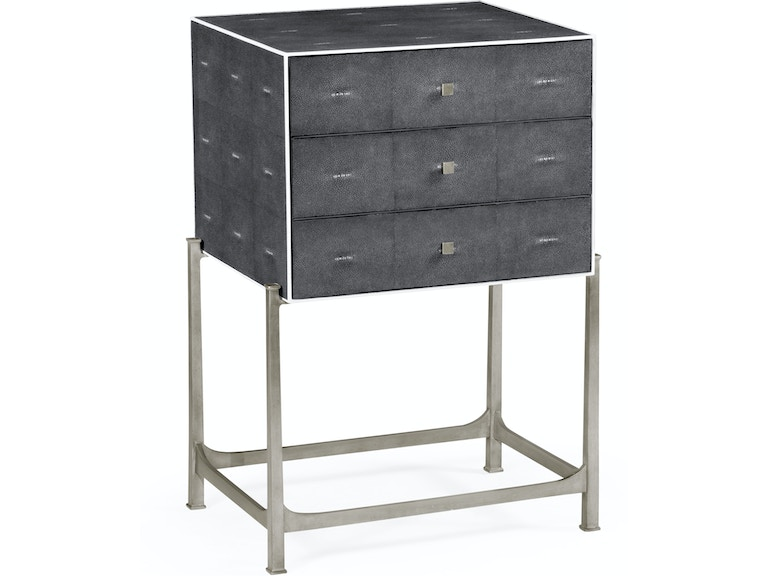 Jonathan Charles Bedroom Faux Anthracite Shagreen High Chest With Silver Base 494379 S Sga Grossman Furniture Philadelphia Pa