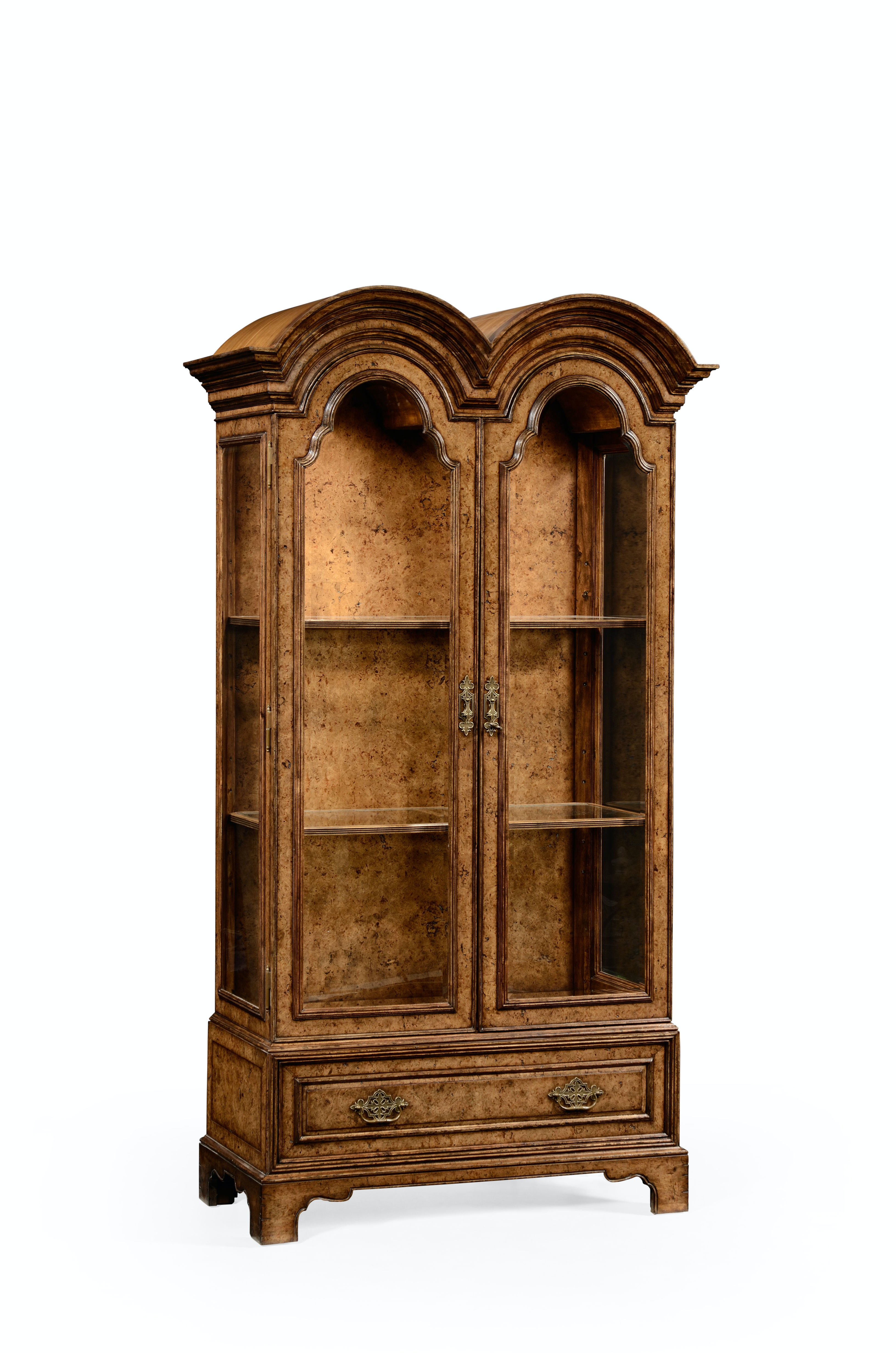 Jonathan Charles Queen Anne Pollard Veneer Bookcase With Glazed Doors 494485-LRO from Walter E  sc 1 st  Walter E. Smithe & Queen Anne Pollard Veneer Bookcase With Glazed Doors 494485-LRO