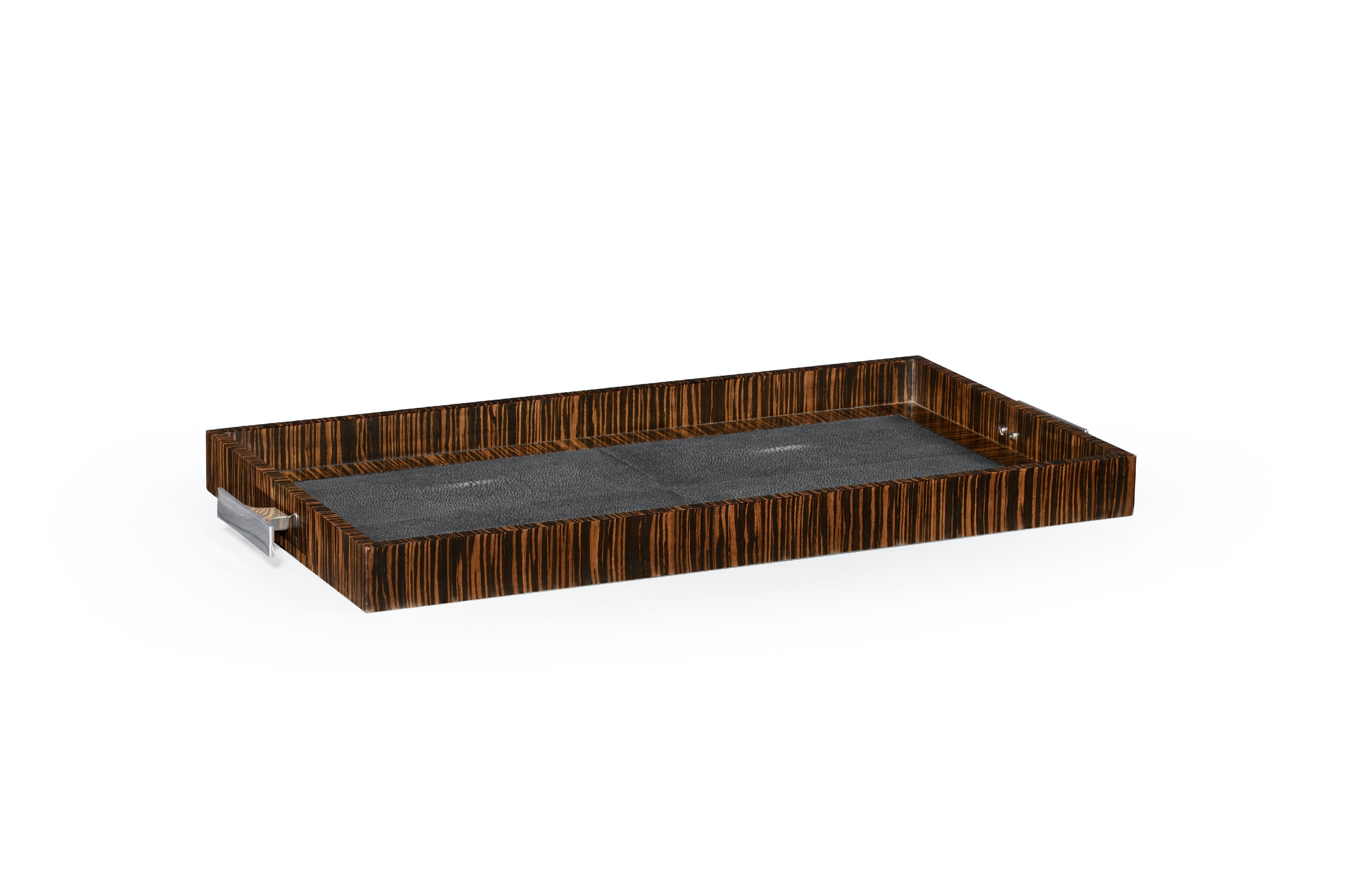 Jonathan Charles Faux Macassar Ebony U0026 Anthracite Shagreen Tray QJ494629MAS  From Walter E. Smithe Furniture