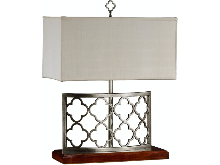 Jonathan Charles Silvered Gothic Trellis Table Lamp 494974 S