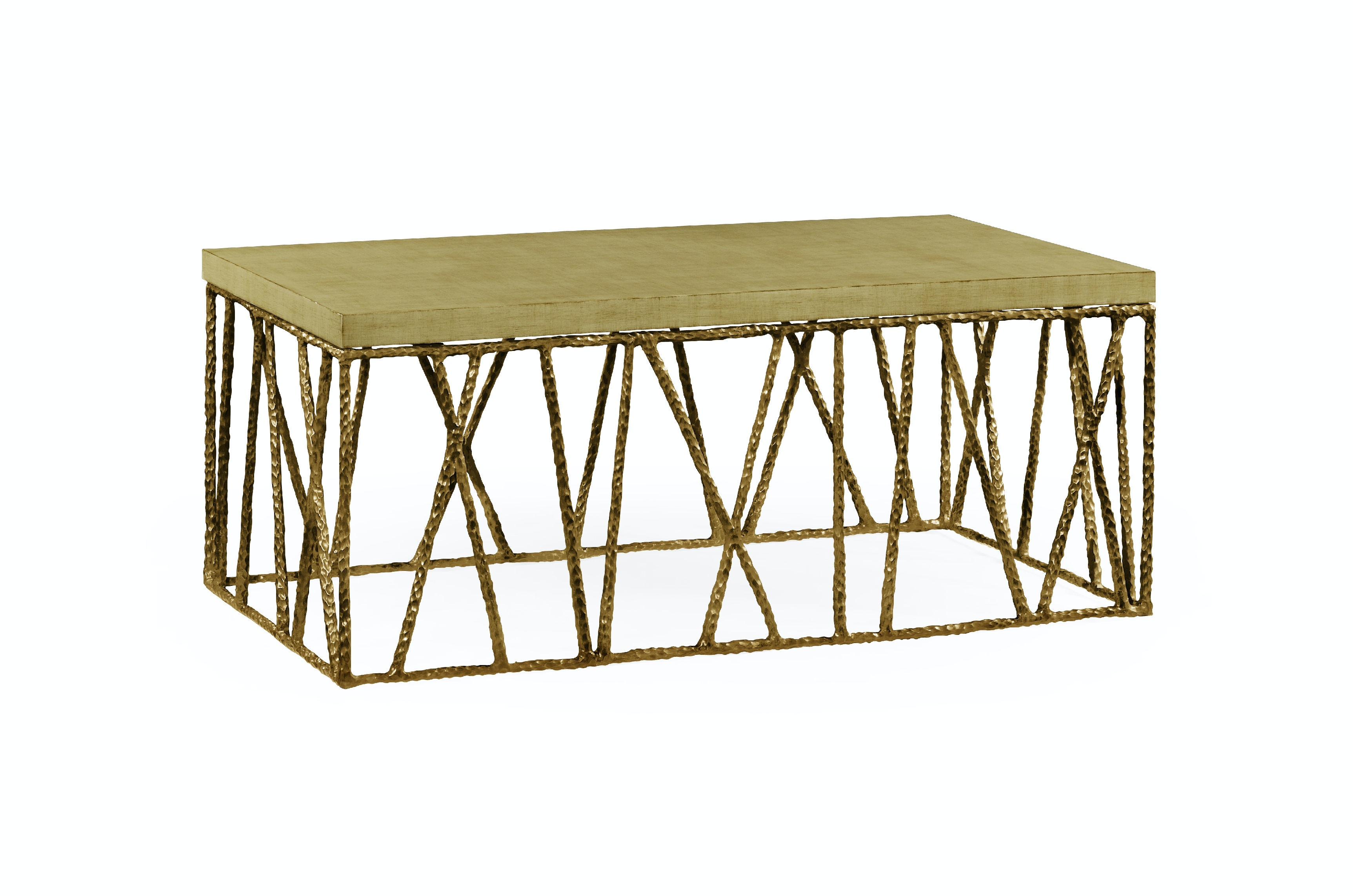 Jonathan Charles Brass Hammered Coffee Table With Celadon Top QJ495086BRA  From Walter E. Smithe Furniture