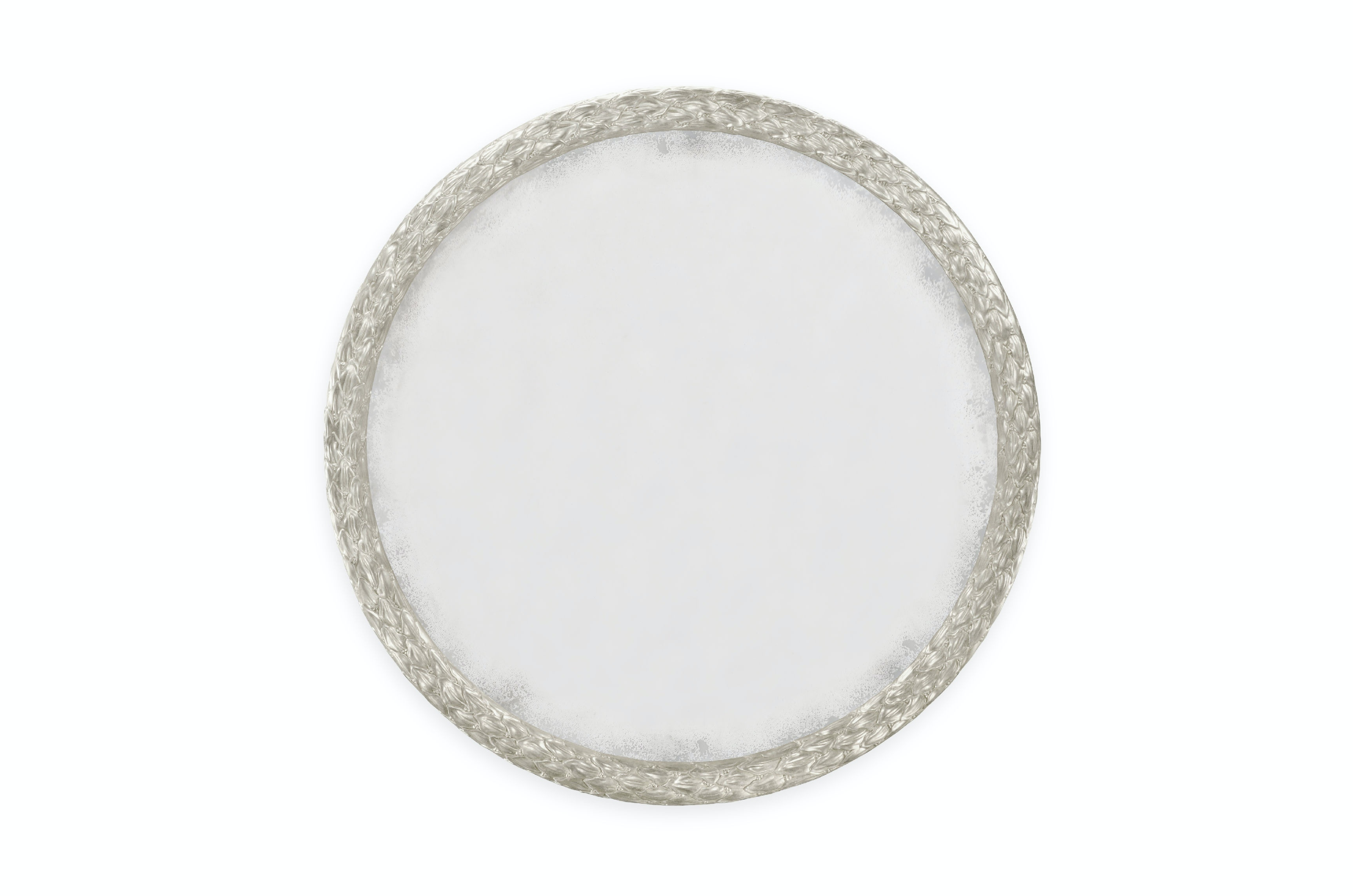 48 round mirror wood frame jonathan charles carved and water gilded silver leaf 48