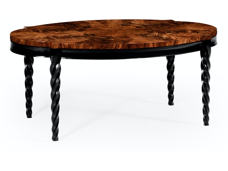 Jonathan Charles Living Room Oval Walnut Twisted Leg Quatrefoil Coffee Table 495155 Twc Wll Penn Furniture Scranton Pa