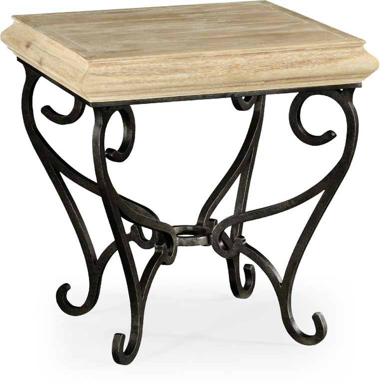 Jonathan Charles Limed Wood Square Side Table With Wrought Iron Base Qj495178lma From Walter E