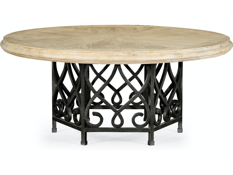 Jonathan Charles 72 Limed Wood Dining Table With Wrought Iron Base Qj49519872dlma