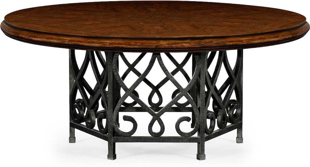 Jonathan Charles Dining Room 72 Rustic Walnut Table With Wrought Iron Base 495198 72d Rwl At Louisiana Furniture Gallery