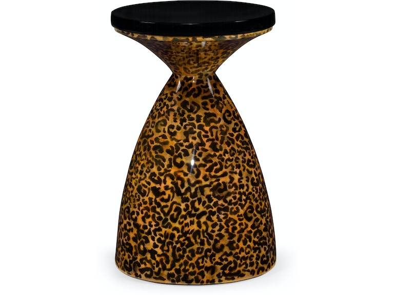 Jonathan Charles Bar And Game Room Leopardskin Painted Round Wine