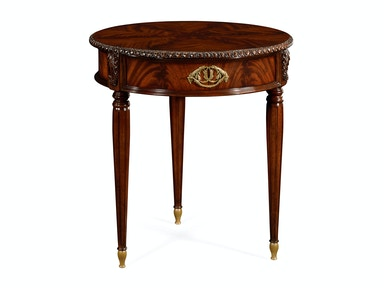 Jonathan Charles Round End Table With Decorative Brass 495570-MAH