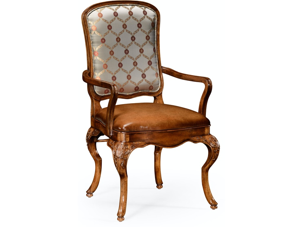 Prime Jonathan Charles Dining Room Walnut Armchair With Dv Medium Antique Chestnut Leather Seat And Fabric Back Qj499179Acbrwl011 Walter E Smithe Furniture Cjindustries Chair Design For Home Cjindustriesco