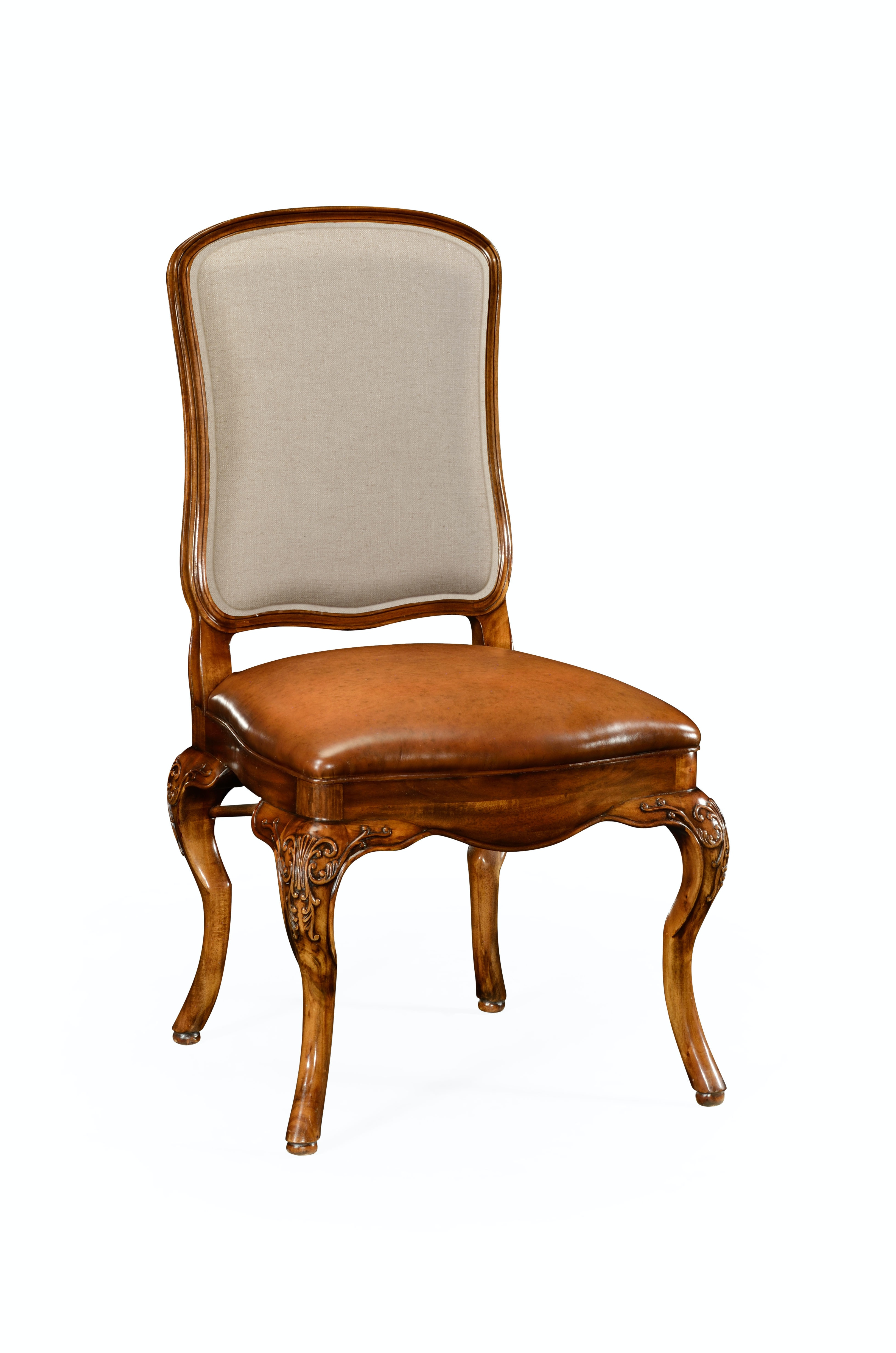Jonathan Charles Walnut Side Chair With Dv Medium Antique Chestnut Leather  Seat And Fabric Back 499179