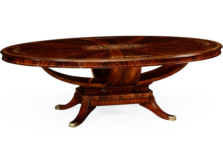 Jonathan Charles 96 Biedermeier Style Oval Dining Table With Fine Mop Marquetry Inlay