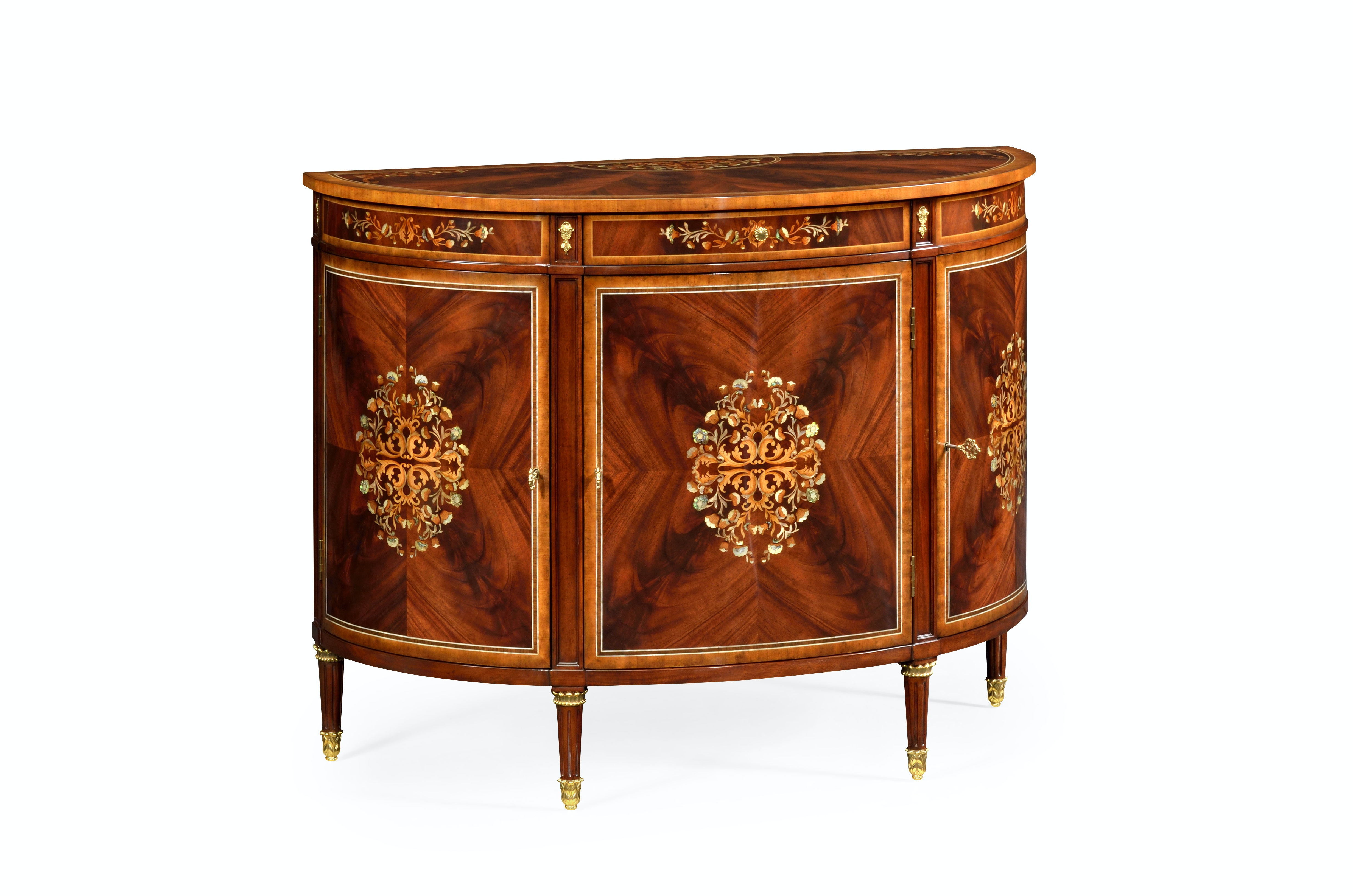 Jonathan Charles Mahogany Demilune Cabinet With Mother Of Pearl U0026 Marquetry  499504 MAM MOP