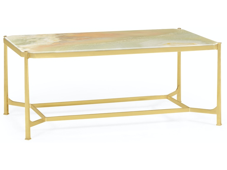 Jonathan Charles Living Room Green Onyx Marble Polished Solid Br Rectangular Coffee Table Qj500044brhm003 Walter E Smithe Furniture Design