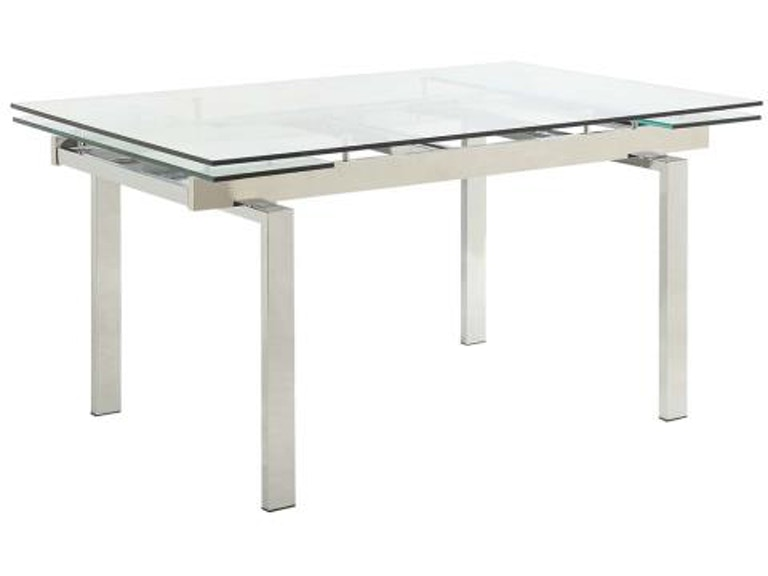 Coaster Modern Dining Contemporary Gl Table With Leaves 106281