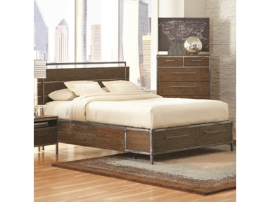 Coaster Arcadia 20380 Industrial Queen Platform Bed w/ metal accents (QUEEN) 203801Q