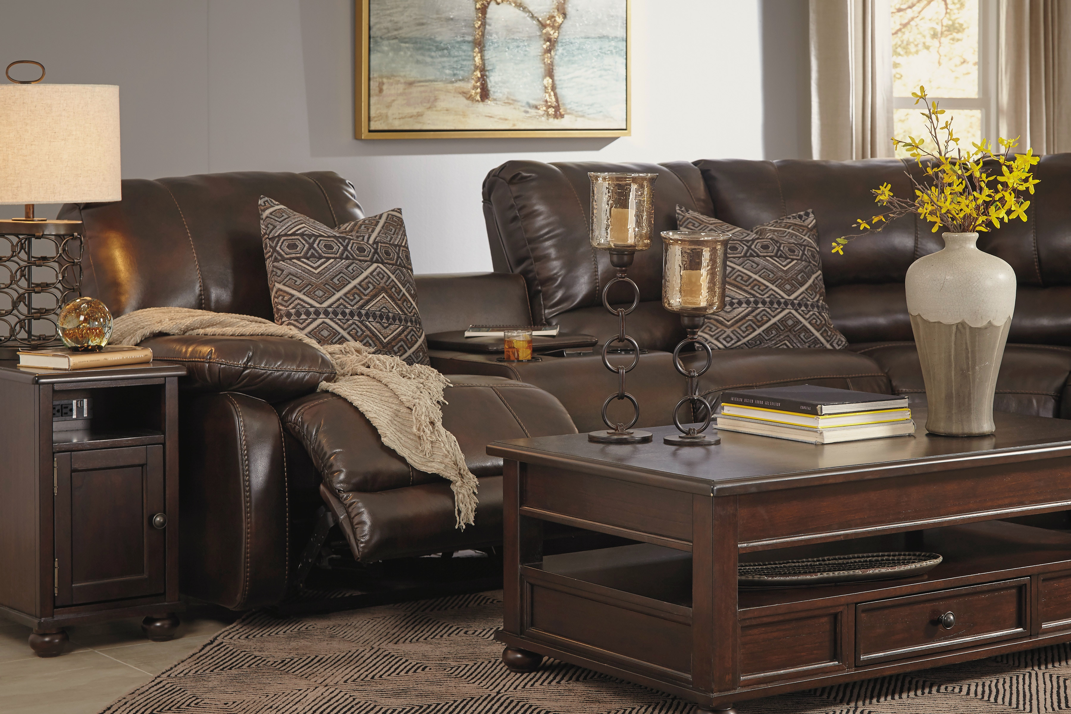 Signature Design by Ashley Hallettsville Reclining Sectional w/ POWER RECLINING CONSOLE 3530062 LAF PWR CONSOLE & Hallettsville Reclining Sectional w/ POWER RECLINING CONSOLE islam-shia.org