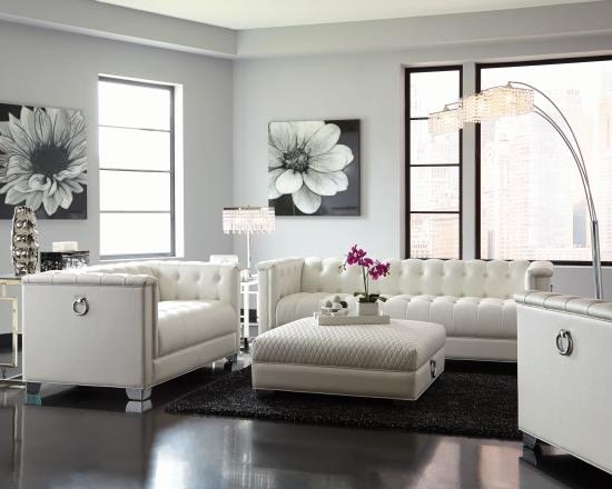 Coaster Chaviano Low Profile Pearl White Tufted Sofa & Loveseat 505391-S2