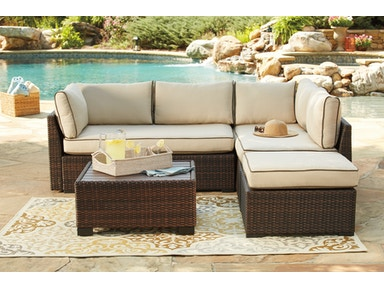 Signature Design By Ashley Loughran Beige And Brown Outdoor Sectional With Ottoman Table P300