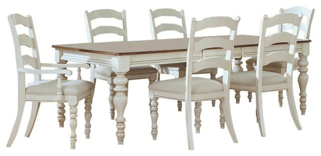 Pine Island 7 PC Dining Set (Dark Pine Top And White Finish)