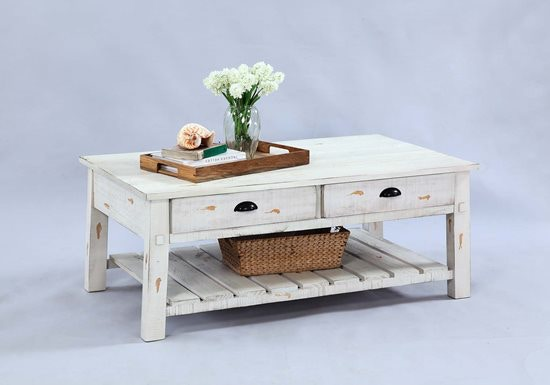 Progressive Furniture Willow Distressed White 3pc Set:Coctail U0026 2 Ends  T410 29