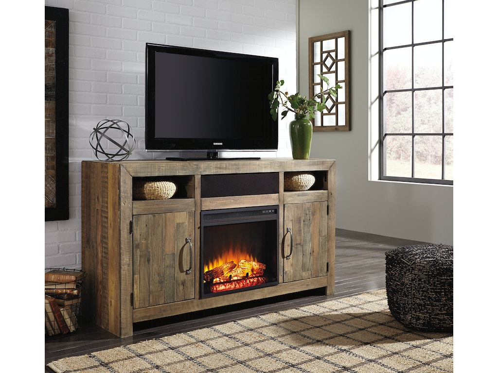 Sommerford lg tv stand w fireplace option for Fireplace options