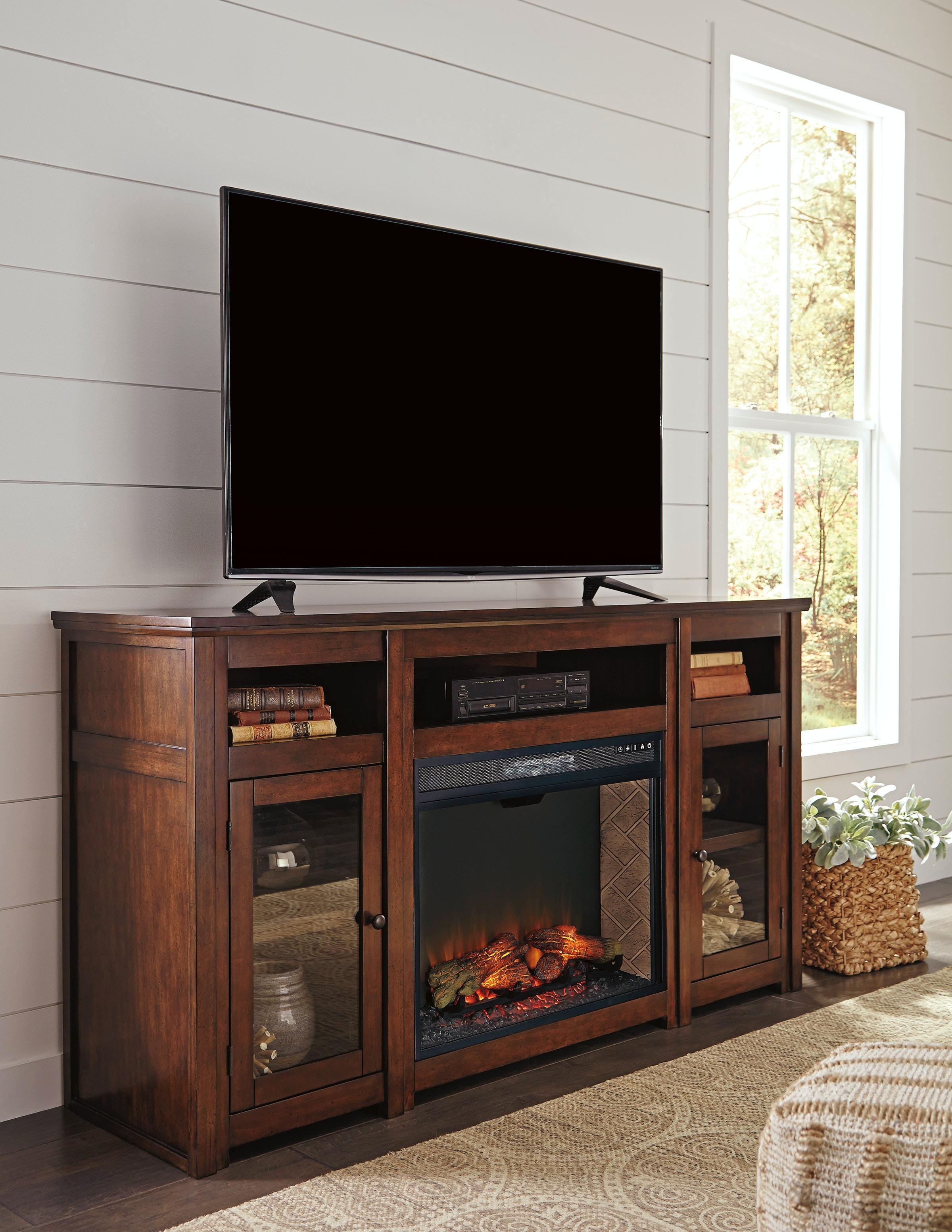 harpan tv stand w fireplace option xl